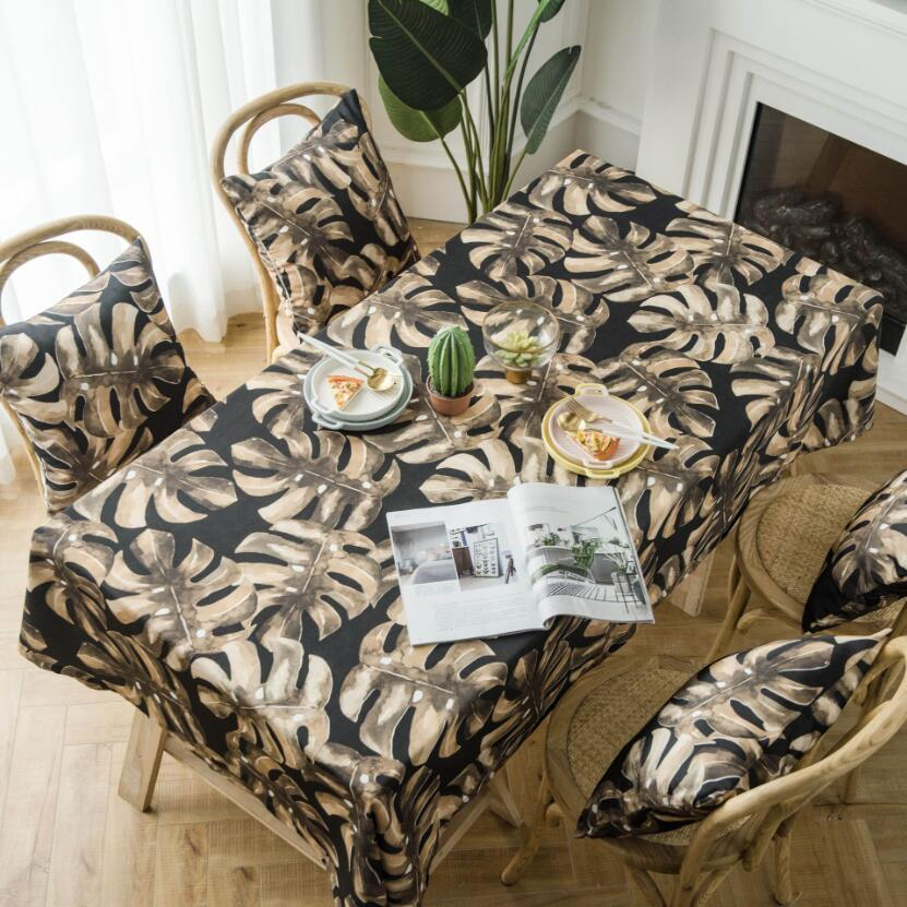 Hot Sale Leaf Table Cloth Polyester Cotton Waterproof