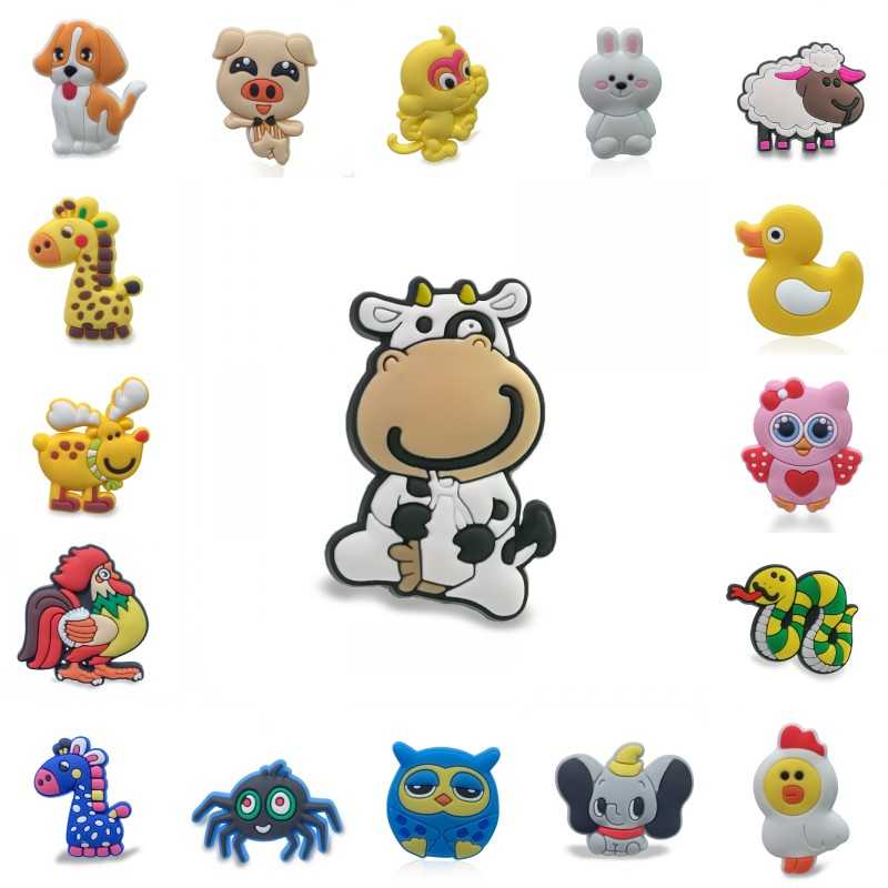 1pcs/lot Cute Animals PVC Shoe Charms Shoes Accessories For Boys Girls Croc Charms JIBZ Shoe Decoration Kids Gift