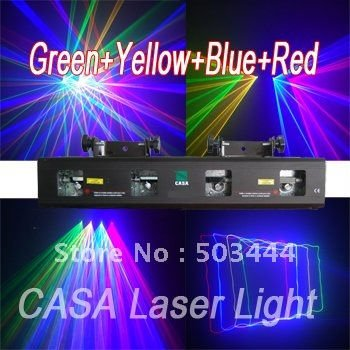 4 lents stage light 50mW Green + 200mW Red laser + 150mW Yellow laser + 100mW Blue laser for disco party DJ equipment