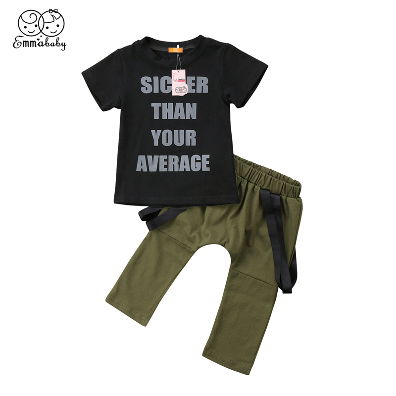 Children Tracksuit For Boys 2018 Summer Kids Boy Short Sleeve Cotton T-shirt+Army Green  ...