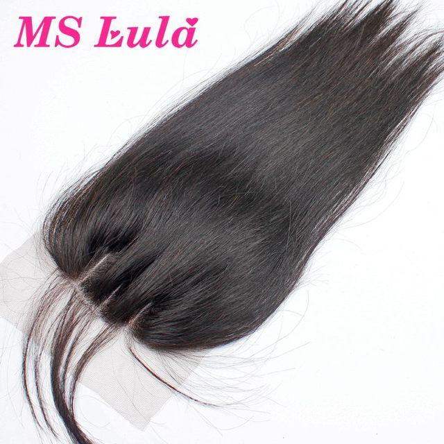 Качество 7А 3 часть кружева закрытие 4x4 размер бразильского виргинские прямые волосы не клубок не проливает Бесплатная Доставка MS Лула волос