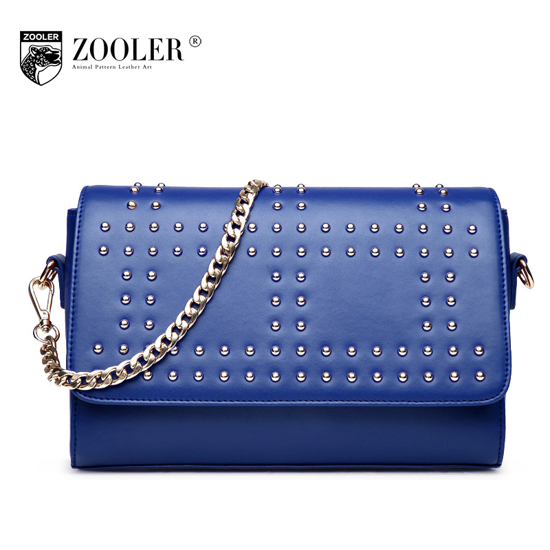 ZOOLER Women Small Genuine Leather Shoulder Bags Leisure Fashion Chain Rivet Bag Ladies Evening Day Clutches Bags Bolsa Feminina zooler women genuine leather chain bag female 2017 new winter ruched shoulder messenger bags small sheepskin evening clutch bag