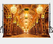 Gold Resplendent Corridor Backdrop Glittering Golden Light Fancy Hotel Photography Background Sanya Landmark Wedding Party