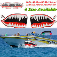 Newest 2 Pcs Set Waterproof Shark Teeth Mouth PVC Sticker Decals For Fishing Ocean Boat Canoe