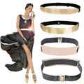 Fashion Women's Waist Band Elastic Mirror Metal Waist Belt Leather Metallic Bling Gold Plate Wide Obi Band 3 Models 013Y