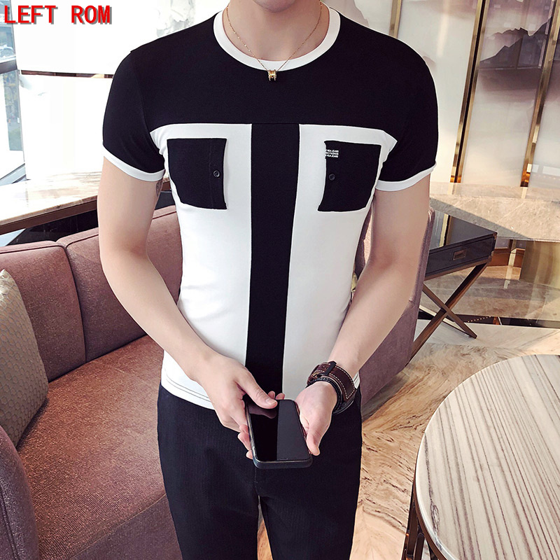 new 2018 summer color mixed fashion casual short-sleeved   T  -  shirt   O-Neck pocket design Cotton Slim Business Top   T  -  Shirt
