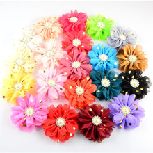 Yundfly 5pcs 3.2 20 Colors Kids Golden Dots Hair Flowers With Pearl Rhinestone Centre Flat Back For Girls Headwear