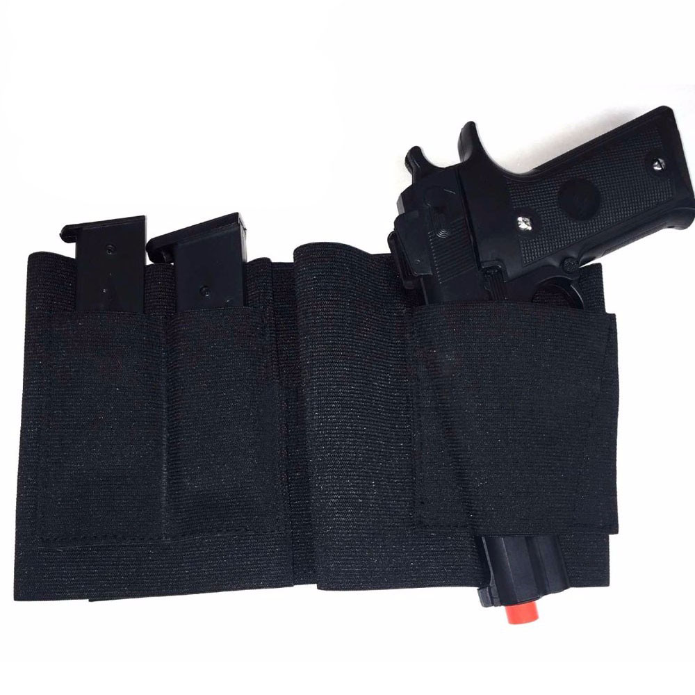 Concealed Carry Belly Band Gun Holster Under Cover Elastic Abdominal Band Pistol Holster with 2 Magazine Pouches ankle holster for concealed carry elastic secure strap leg pistol gun holster leg pocket revolvers handgun pouch