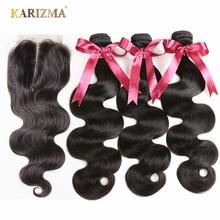 Karizma Brazilski lasje 3 snopi z zaprtjem Body Wave 100% človeški lasje z zapiranjem srednji del Non Remy Hair 4pcs / lot