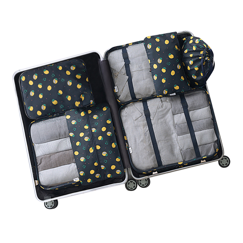 7Pcs/set Travel Storage Bags Women Men Luggage Shoes Clothes Underwear Toiletry Cosmetic Pouch Gear Case Organizer Wholesale Lot