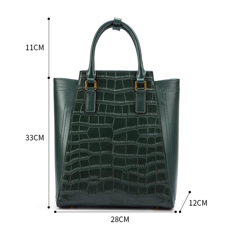 À Femme Fourre Véritable Grand Qw8925 Ventes De Luxe La Sacs Vert Cuir Qiwang tout Sac Crocodile Marque Mode En 1 Main Femmes ta6xq