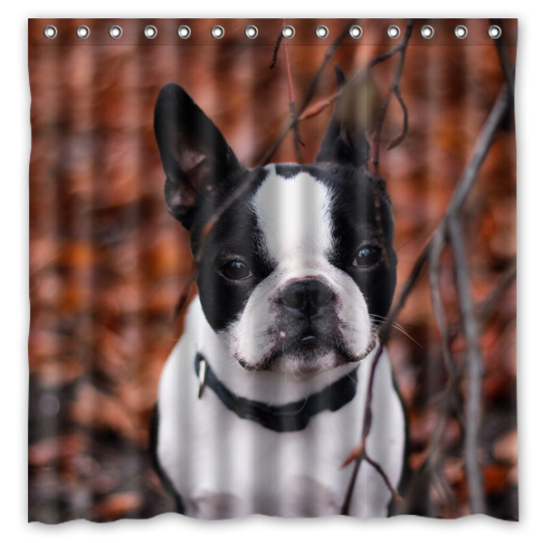 72x72 Waterproof Shower Curtain Bathroom French Bulldog Eco Friendly Bath Curtains Welcome Custom