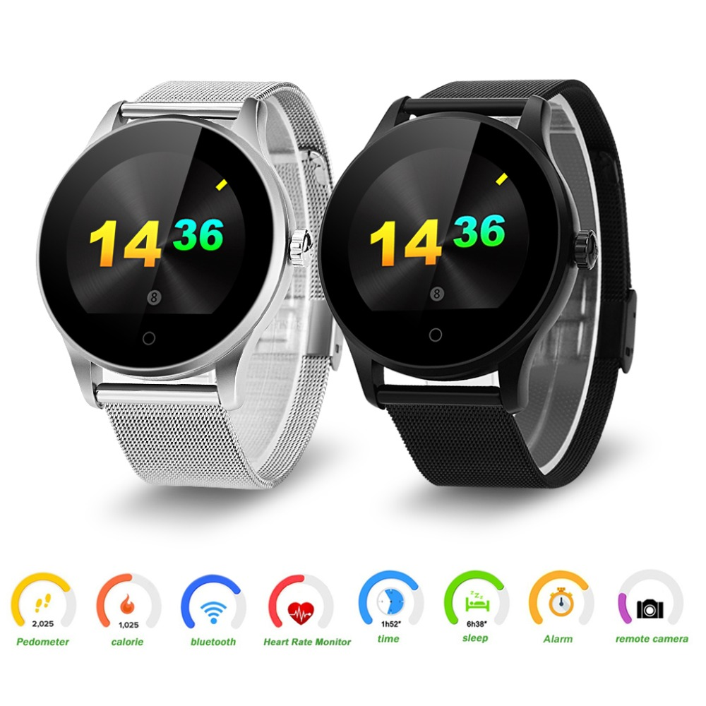 K88H Smart Uhr HD Display Herz Rate Monitor Schrittzähler Fitness Tracker MTK2502C Männer Smartwatch Verbunden Für Android IPhone
