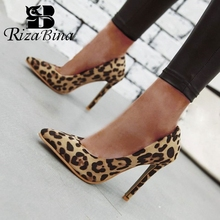RIZABINA Plus Size 33-46 Women High Heel Shoes Fashion Leopa