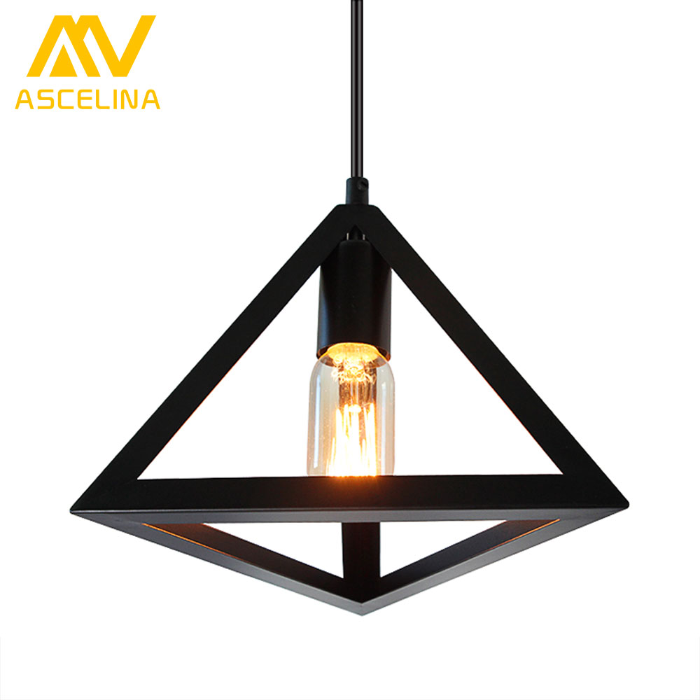 pendant lamp American village triangular pendant creative living room light loft style iron lighting for bedroom balcony dining american style pendant light living room lights bedroom lamp bar lamp lighting lamps 8032 5
