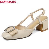MORAZORA Big Size 34 43 EUR Fashion Slingback Women Sandals 5 5cm Square High Heels Rhinestone
