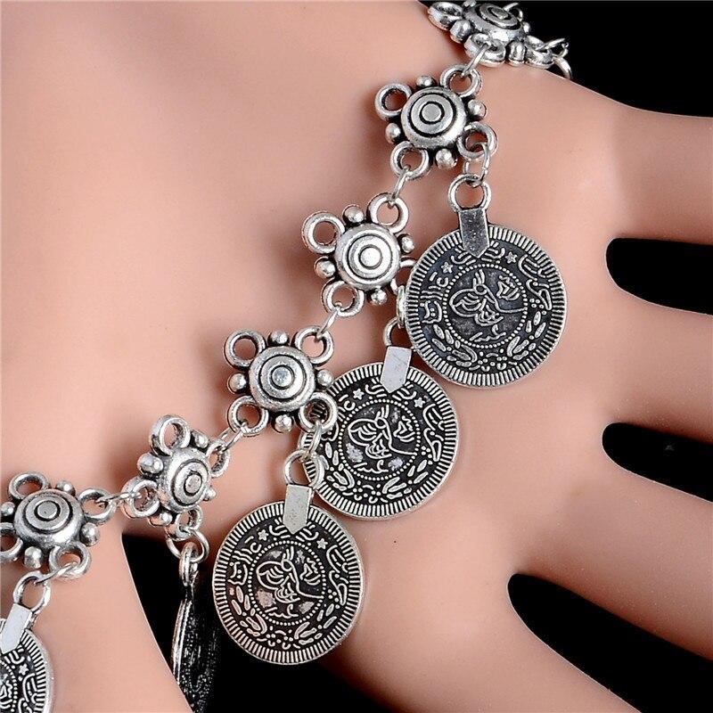 Bohemian Antalya Coin Bracelet Silver Gypsy Boho Coachella Festival Turkish Jewelry Sinaya Tribal Ethnic Jewelry 10Pcs/lot