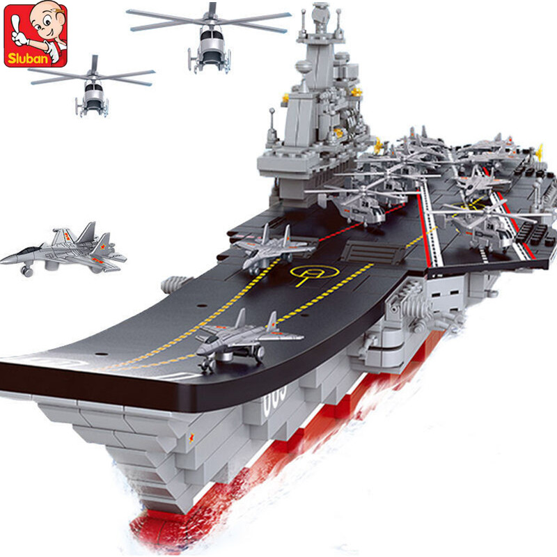 1059Pcs Military Building Blocks ARMY 1 450 Aircraft Carrier Cruiser Warship Helicopters Weapon Educational Toys for