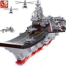 1059Pcs ทหาร Creator Building Blocks ชุด ARMY 1:450 เครื่องบิน Carrier Cruiser เรือรบ Juguetes อาวุธของเล่นเพื่อการศึกษาเด็ก