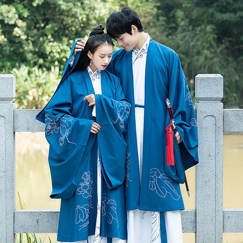 Wei Jin Ming Dynasties Ancient Men costume chinese Hanfu Element romantic Lovers Overcoats Women Classical Suits jacket + Skirt