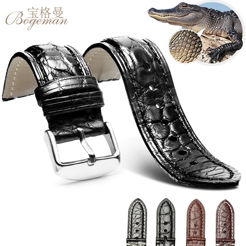 18mm 20mm 22mm Crocodile Strap Leather Strap, Men's Or Women's Watch Accessories Watch With Pin Pin Black Brown Free Postage
