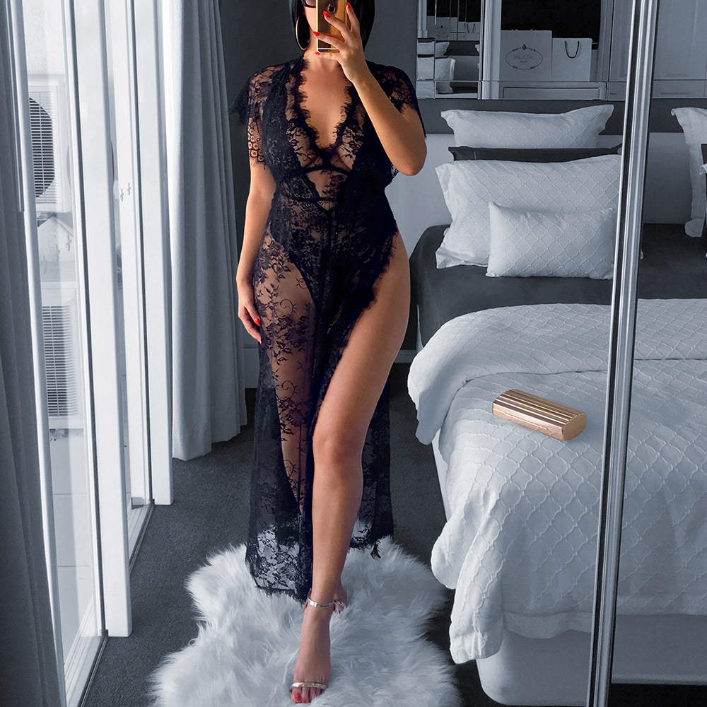 BKLD 2018 Sexy Women Nightgowns Sleepshirts Short Sleeve V Neck Nightgowns Black Lace Transparnet Hollow Out Ankle-Length Dress