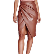 New Winter Washed Leather Women's Skirt Package Hip Fashion PU Leather Skirt High Waist Slim Knee Length Skirt Women C1222