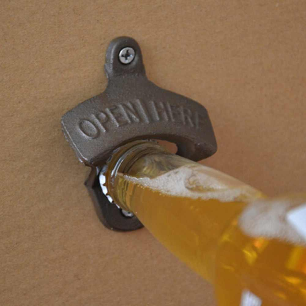 Vintage dökme demir duvara monte şişe açacağı bira mutfak aksesuarları Dro'p'shipping