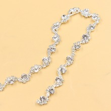 10Yards Silver Clear Bling Glass Crystal AB Rhinestone Chain DIY Sewing Accessories