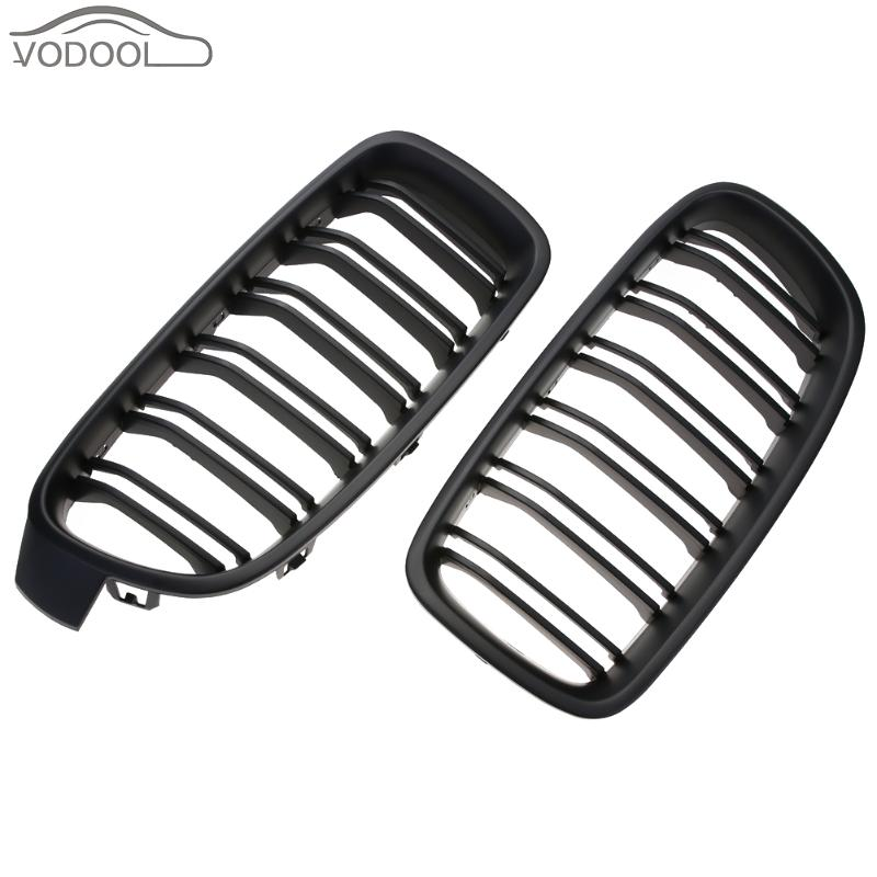1 Pair Car Front Kidney Grille Matte Black Racing Grill For Bmw F30