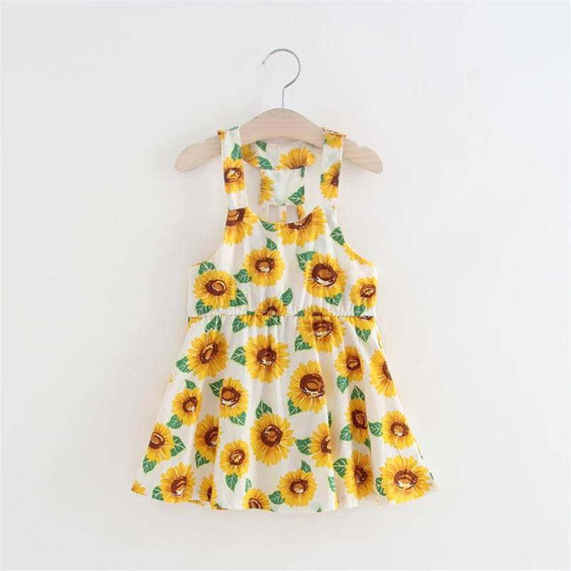 MUQGEW girls dress vestido infantil floral girls dresses Sunflower Print Sleeveless Backless Floral Dress Outfits attractive high slit floral print maxi dress for women