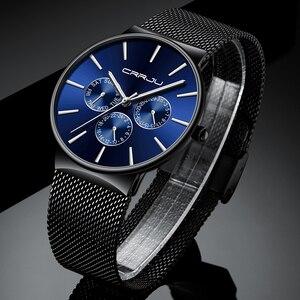 Image 4 - Reloj Hombreนาฬิกาผู้ชายCRRJUแบรนด์หรูนาฬิกากันน้ำUltra Thinวันที่นาฬิกาข้อมือชายตาข่ายCasualนาฬิกาควอตซ์