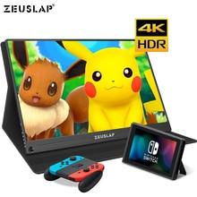 15.6 polegada 4 K + HDR 72% NTSC 178 Dgree Ângulo de Visão IPS Tela 1000:1 Contraste TYPE C HDMI Switch PS4 monitor de Jogos portáteis