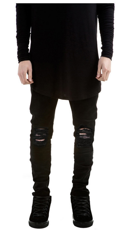 summer style Mens Destroyed Denim Jeans slim hole black strech ripped jeans for men casual skinny fashion pants designer jeans