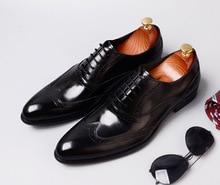 QYFCIOUFU 2019 Vintage Handmade brogue shoes men lace-up Genuine Cow Leather Fashion Men dress shoes Party Original formal shoes