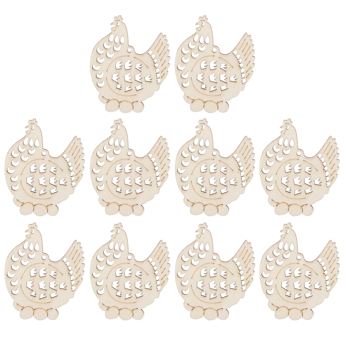 Us 1 68 38 Off 10pcs Hollow Hens Ornaments Wooden Hanging Easter Decorations With Hemp Ropes For Christmas Tree Home Party Decorative Crafts In Wood