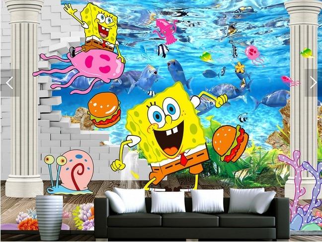 Free shipping custom children room kindergarten aquarium for Aquarium mural wallpaper