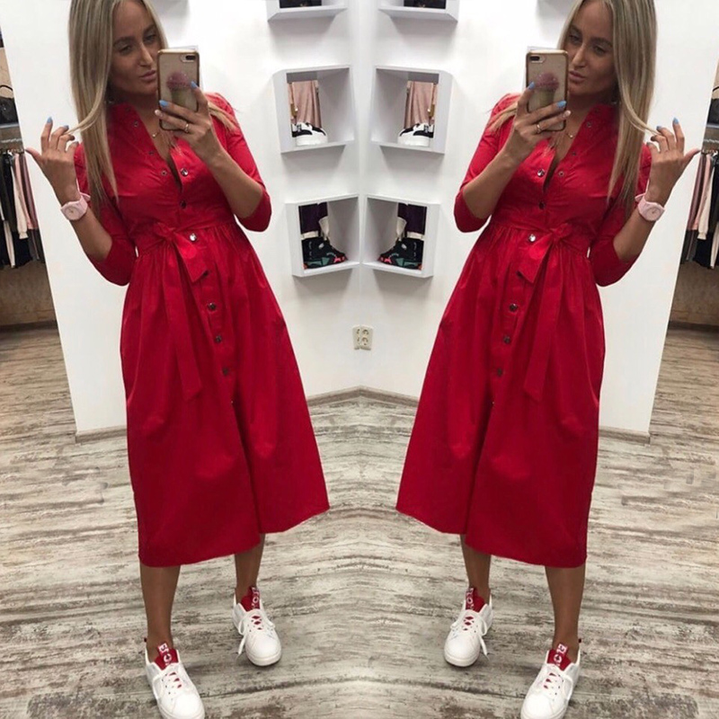 2019 Women Sashes Button Casual A-Line Party Dress Stand Collar Seven Sleeve Elegant Dresses Office Lady Women Knee Length Dress