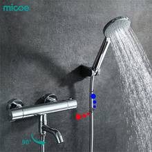 ¡Novedad de 2018! Grifo termostático para ducha Micoe, juego de ducha, grifo pared de la Ducha para bañera y Cascada