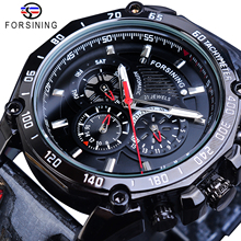 Forsining Watch Mens Automatic Luxury Brand Date Luminous Hands Genuine Leather Band Waterproof Male Mechanical Black Wristwatch muhsein watch fully automatic mechanical watch male luminous waterproof stainless steel genuine leather watchband mens watch