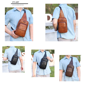 Image 3 - JEEP BULUO Big Brand Mans Chest Bag Fashion Men Leather Crossbody Sling Bags For Young Man Teenagers Students New Causual Cool