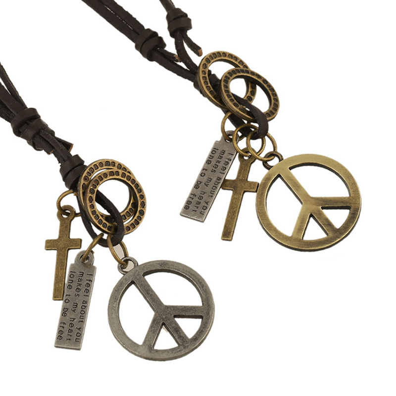 Vintage Men Women Retro Peace Sign Pendant PU Leather Chain Necklace Choker Jewelry Gifts KQS