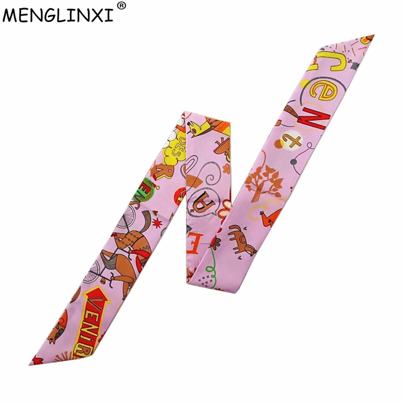 Letter Print Skinny Scarf Women Bag Silk Scarves 2020 New Fashion Head Scarf Luxury Brand Wrist Towel For Ladies