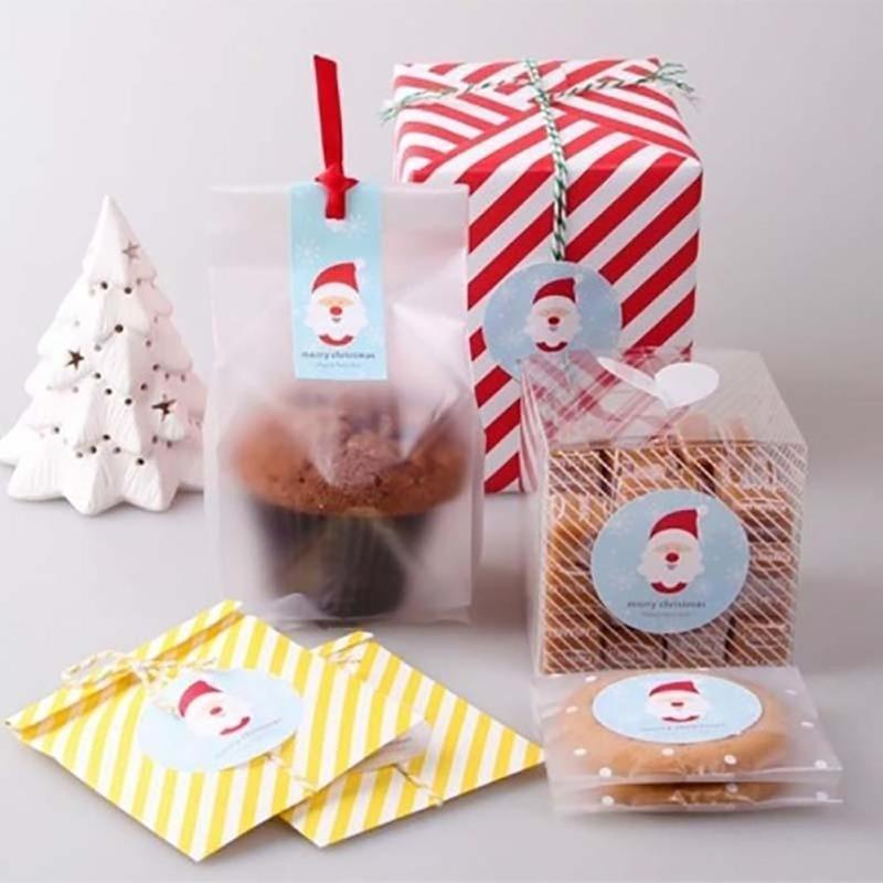 60 Unids Feliz Navidad Papá Noel Azul sellado pasta de Sellado pegatinas DIY pas
