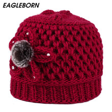 Warm Winter Hats for Women 2019 Knitted Flower Beanies Female Caps Braided Hats Gorros Cap Bonnet Femme Mother Hat Skullies Cap(China)