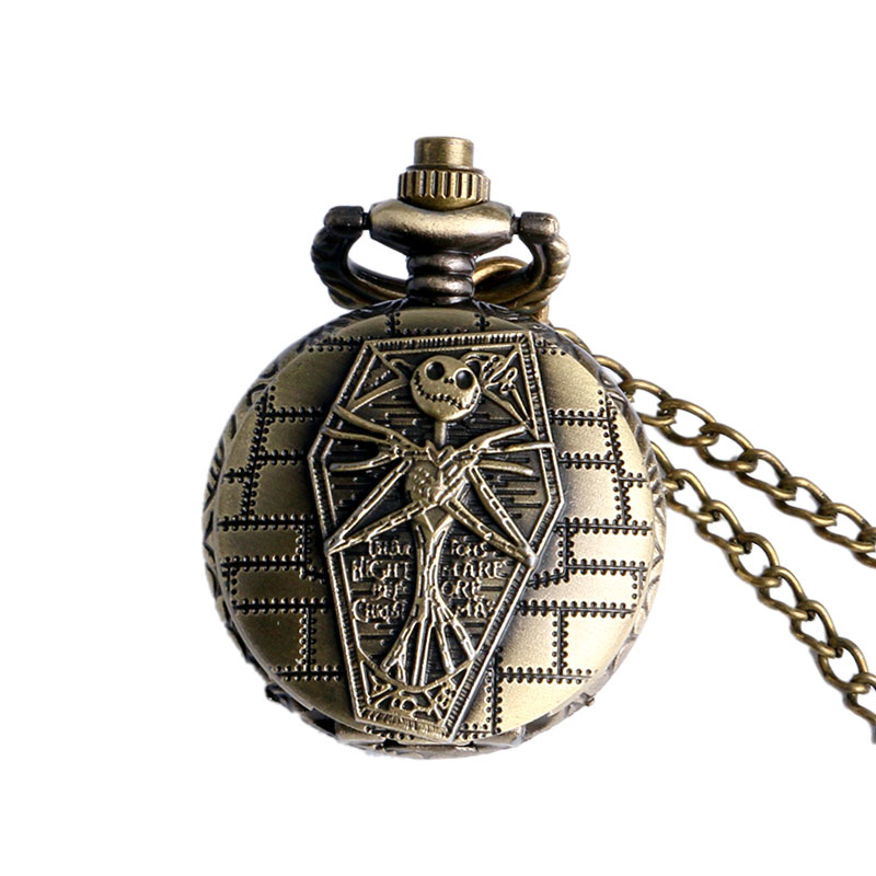 Bronze Retro Small Size Nightmare Before Christmas Pocket Watch Vintage Clock Necklace Pendant Chain Womens Mens Children Gifts