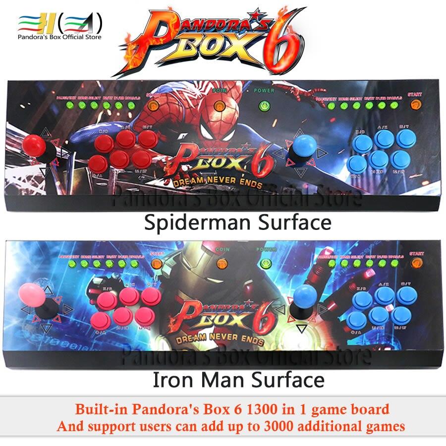 Nouveau pandora box 6 1300 dans 1 arcade contrôle kit joystick usb boutons zéro retard 2 joueurs HDMI VGA arcade contrôleur de la console TV