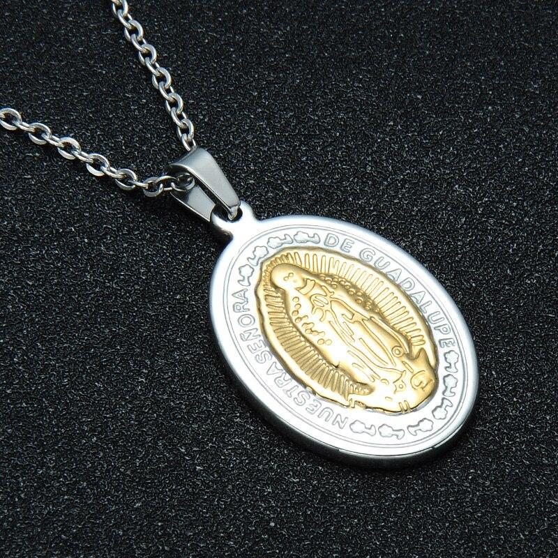 6bf98c600aed D   Z Catholic Guadalupe Virgen María COLLAR COLGANTE de acero inoxidable  encanto María colgantes y collares para joyería religiosa