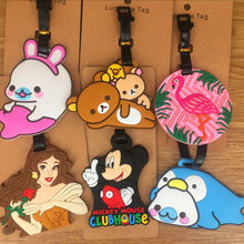 Tourism supplies ~ cartoon modelling lazy bear cranes mickey PVC soft plastic luggage tag bag pendant(China)