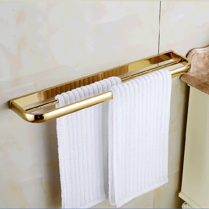 цена Wholesale And Retail Modern Square Solid Brass Bathroom Towel Rack Holder Dual Towel Bars Wall Mounted